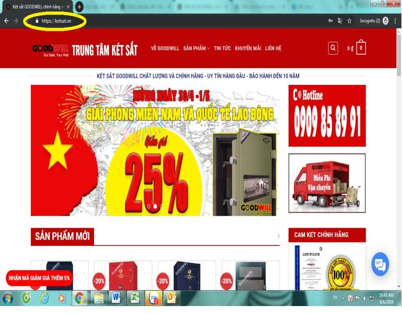 trang website chính thức két sắt goodwill